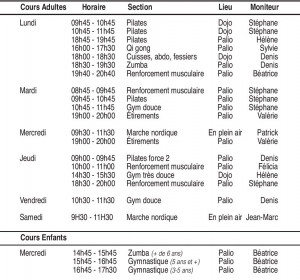 horaires gym volontaire